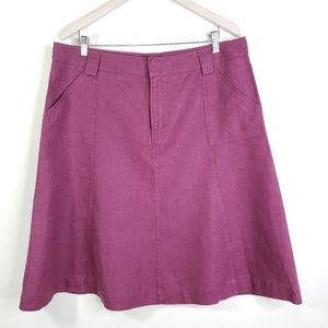Eddie Bauer Linen A Line Berry Skirt 16